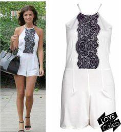 Love Lucy Cream Black Lace Detail Playsuit