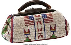 American Indian Art:Beadwork and Quillwork, A SIOUX PICTORIAL BEADED HIDE DOCTOR'S BAG. c. 1890...