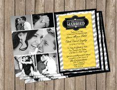 Cheveron Wedding Invitation yellow & gray by MissBlissInvitations, $15.00