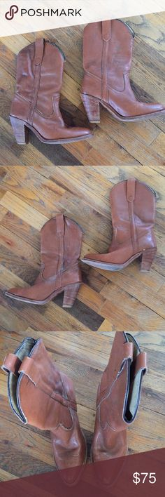 Frye Boots Authentic Frye Boots. Structurally great shape, has some scuffs and water spots, with proper leather care they should look great! Heels/sole in great shape! Best for a narrow foot. Make offer. Frye Shoes Heeled Boots