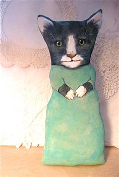 Big cat ooak art doll kitty handmade sewn stuffed by sandymastroni