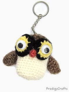 Handmade amigurumi key chain / owl key chain by ProdigyCrafts, $9.50