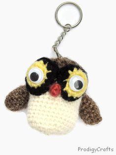 Handmade amigurumi key chain / owl key chain by ProdigyCrafts, $9.50