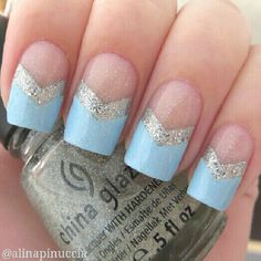 Pastel blue chevron nails inspired by the chevron queen @nailsofjessiek   @alinapinuccia-
