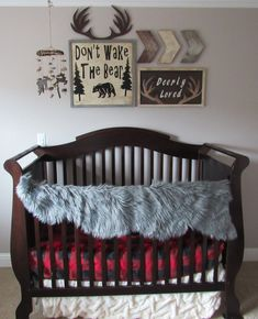 buy now! baby boy nursery, nursery ideas, rustic nursery, forest nursery, baby boy room, baby bear, wooden sign, rustic signs, nursery décor, rustic décor, antlers, deer, moose, rustic mobile, chevrons, wall collage signs, boy's room, country decor