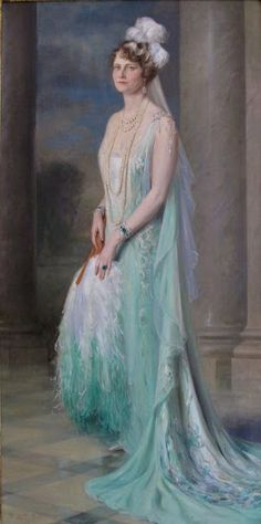 'Marjorie Merriweather Post' - 1931 - When she was presented at the Court of St. James, in a Callot Soeurs Gown - by Giulio de Blaas (Italian, 1888-1934) - Oil on canvas - @~ Watsonette