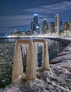 Winter Night - Chicago, Illinois