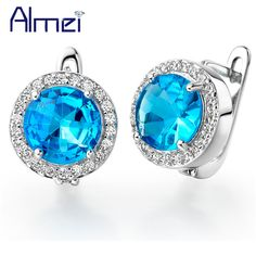 Find More Stud Earrings Information about Earrings 925 Sterling Silver Fashion Round Zirconia Ocean Blue Crystal 2015 Women Wedding Accessories Mother's Day Gift R143,High Quality accessories audi,China accessories mp3 Suppliers, Cheap accessories fascinators from Almei Jewelry Store on Aliexpress.com