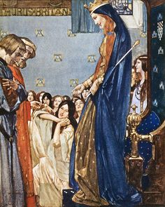 "All the ladies said at one voice: ""Welcome, Sir Tristram!"" ... ""Le morte d'Arthur"" (1910-11) illustrated by William Russell Flint"