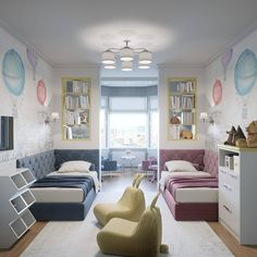 Exquisite room for your kids. Another shared boy/girl room idea. Love the separate sitting area! Kids Bedroom Decor, Room Design, Children Room Boy, Bedroom Interior, Kids Bedroom Designs, Small Kids Room, Girl Room, Kids Shared Bedroom, Kids Interior Design