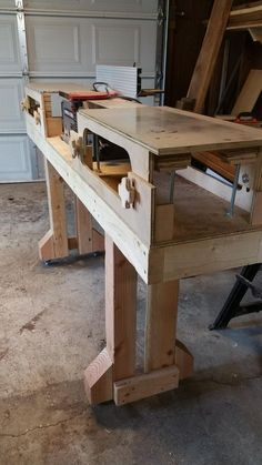I built some extensions for my bench top jointer so i could joint some boards easier. Building A Workbench, Workbench Plans, Woodworking Workbench, Woodworking Workshop, Woodworking Projects Diy, Woodworking Shop, Wood Projects, Portable Work Table, Woodshop Tools