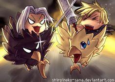 Cloud Strife and Sephiroth. Fan art. Final Fantasy VII.