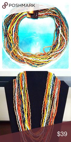 Wood Buckle Beaded Necklace Multi Colored Wood Buckle Beaded Necklace pinkHOUSE Jewelry Necklaces