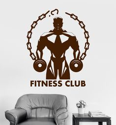 Vinyl Wall Decal Fitness Club Gym Muscled Bodybuilding Sports Stickers (ig3271)