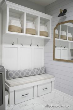 Mudrooms Mud room bench with storage for gear and shoes at Thrifty Decor Chick! Bed Storage, Decor, Mudroom, Bench With Storage, Home Diy, Storage, Shiplap Wall Diy, Decorating Your Home, Diy Shoe Storage