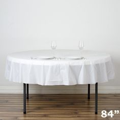 "84"" White Crushed Design PVC Plastic Disposable Waterproof Round Home Tablecloth Picnic Banquet Protector Cover"
