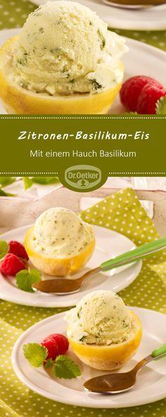 Zitronen-Basilikum-Eis: Ein köstliches Zitroneneis mit einem Hauch Basilikum #zitroneneis #basilikumeis #eis
