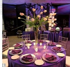 Ooh someone please do this set up in our Evergreen Room! Purple is so pretty.