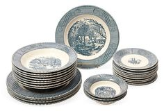 Currier & Ives China Collection, 24 Pcs. on OneKingsLane.com Wow, I should sell my collection