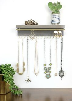 Gray Jewelry Organizer Necklace Holder Wall Mounted Rustic | Etsy Diy Organizer, Jewelry Organizer Wall, Jewelry Tray, Wall Organization, Jewelry Armoire, Jewelry Holder, Jewelry Organization, Diy Jewelry, Organizers