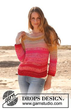 Ravelry: 147-8 Candy - Jumper in garter st with dropped sts and ¾ sleeves in 2 strands Safran pattern by DROPS design