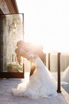Gorgeous wedding pose, beautiful lighting that adds to their newly discovered love.