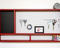 This Peg Board Organizer With ChalkBoard for Craft Tools Pegboard Craft Room Organization Chalk Board is just one of the custom, handmade pieces you'll find in our racks & shelves shops. Tool Pegboard, Pegboard Craft Room, Painted Pegboard, Pegboard Display, Craft Room Signs, Steampunk Furniture, Rustic Floating Shelves, Wood Wall Shelf, Room Organization