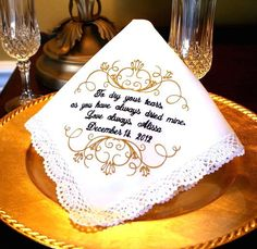 Mother of The Bride Handkerchief  Mother of the Groom  by abbytrey, $19.95