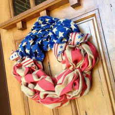 Patriotic American Flag Burlap Wreath by FestiveCircles on Etsy, $55.00