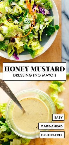 Salad Dressing This LIGHT but CREAMY honey-mustard salad dressing is made with Greek yogurt instead of mayonnaise. It's my favorite!This LIGHT but CREAMY honey-mustard salad dressing is made with Greek yogurt instead of mayonnaise. It's my favorite! Honey Mustard Salad Dressing, Honey Mustard Vinaigrette, Greek Yogurt Salad Dressing, Honey Mustard Sauce, Greek Salad, Healthy Salads, Healthy Eating, Healthy Recipes, Keto Recipes