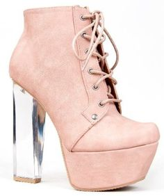 Qupid MONTE-01X Clear Lucite Chunky High Heel Lace Up Platform Ankle Boot Bootie,