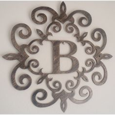 Monogram Wall Hanging Metal Metal Monogram Solar Light Wall Art Hanging Decor Scrollwork Frame