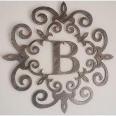 metal scroll screens decorative   ... , Monogram inside a Metal Scroll with B letter, Wall decor, Metal Art
