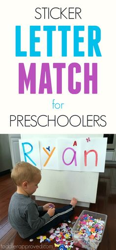 Sticker Letter Match for Preschoolers! Such an easy way to teach kids about their name and learn to recognize alphabet letters! by Toddler Approved Preschool Names, Toddler Learning Activities, Preschool Letters, Letter Activities, Toddler Preschool, Classroom Activities, Kids Learning, Alphabet Letters, Letter Tracing