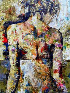 Céline Brossard, 1960   Abstract Mixed media painter   Tutt'Art@   Pittura * Scultura * Poesia * Musica   Celine, Present Day, Figure Painting, Mixed Media Art, Lovers Art, Art Photography, Portrait, Abstract, Image