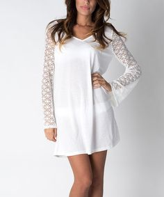 Another great find on #zulily! White Crochet Bell-Sleeve Cover-Up by Banana Split #zulilyfinds