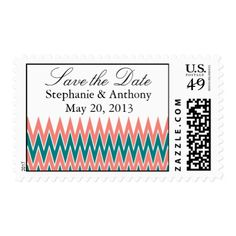 Coral Pink and Teal Zigzag Wedding Save the Date Postage