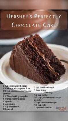 Hershey Chocolate Cakes, Perfect Chocolate Cake, Homemade Chocolate, Delicious Chocolate, Chocolate Desserts, Fun Desserts, Dessert Recipes, Chocolate Chocolate, Chocolate Frosting
