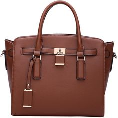 MKF Collection by Mia K. Farrow Danna Satchel - Brown - Totes (945 UAH) ❤ liked on Polyvore featuring bags, handbags, brown, brown satchel purse, brown tote bags, vegan purses, shoulder strap purses and faux leather tote