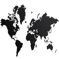 World Map seinätarra, musta