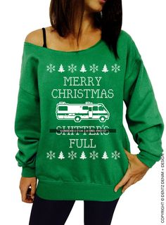 "Coupon code ""PINTEREST"" Ugly Tacky Christmas Sweater - Merry Christmas Shtter's Full - Ugly Christmas Sweater - Green Slouchy Oversized Sweatshirt by DentzDesign"