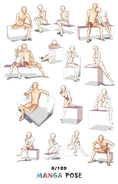Tutorial Drawing Manga pose. Big posebook for manga anime character. : Chair poses