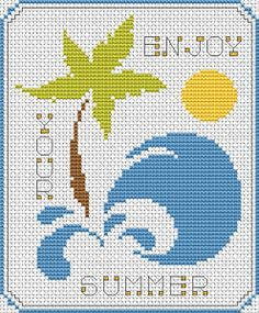 "Hard to believe with this crazy weather most of us are having, but summer really is around the corner. How about a cute card like this one, ""Enjoy Your Summer,"" to wish someone a great summer? Free cross stitch card pattern from Alita Designs. Cross Stitch Tree, Cross Stitch Heart, Cross Stitch Cards, Cross Stitching, Cross Stitch Embroidery, Cross Stich Patterns Free, Cross Stitch Designs, Origami, Crochet Cross"
