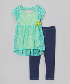 Pogo Club Turquoise Lace Ariel Tunic & Jeggings - Girls by Pogo Club #zulily #zulilyfinds