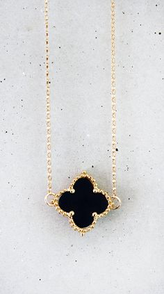 Onyx Clover Necklace by shopkei on Etsy, $39.50
