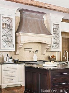 Distinctive Kitchen Cabinets with Glass-Front Doors | Traditional Home