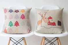 Designed chic Christmas theme Pillow case 45cmx45cm Merry Christmas set with santa and ring deer watch tv trees on Etsy, $17.99