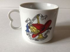 Vintage FW Becker Fireman Helmet Fire Trumpet  Ax 1890 & 1877 Coffee Tea Mug Cup by afunspottoshop on Etsy