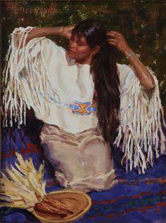 Buckskin and Pendleton Blue - Oil Painting by Mike Desatnick - Native American Native American Women, American Indian Art, Native American Indians, Native American Paintings, Native Style, Western Art, Beautiful Paintings, Nativity, Artist