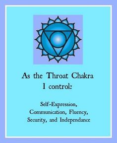 As The Throat Chakra, I Control Self-Expression, Communication, Fluency, Security and Independence!